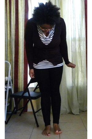 black H&M shirt - black Old Navy leggings - brown Old Navy cardigan