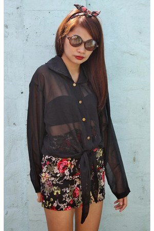 sheer top - floral print skirt