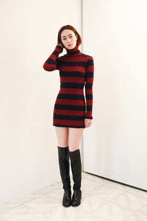 black leather Forever 21 boots - red knit Fashion To Any dress