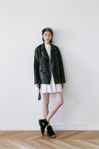 black leather jacket FashionToAny jacket - white lace dress FashionToAny dress