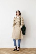 beige trench coat FashionToAny coat - black bag Celine bag