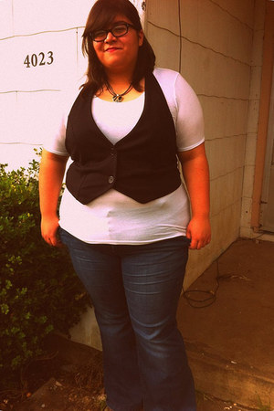 black vest - navy flared torrid jeans - white tissue Mossimo shirt - necklace