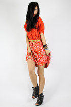 red vintage batik dress - yellow agnes b belt - black Aldo wedges