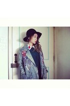 animals denim coat - black vintage Monki hat - teal green Tasty sweater