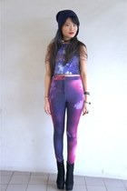 navy navy beanie Daiso hat - amethyst cosmic pants The Editors Market pants