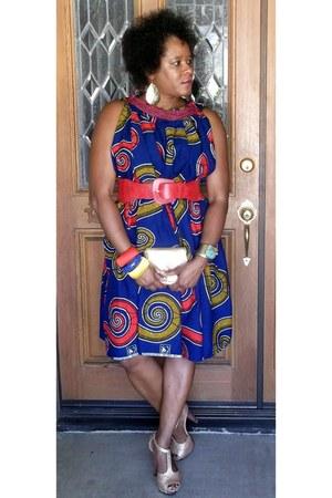 blue thrifted dress - red Forever 21 belt - gold Charlotte Russe heels