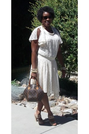 eggshell Anthropologie dress - brown Louis Vuitton bag - camel sychelles heels