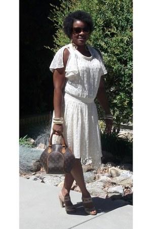 eggshell Anthropologie dress - brown Louis Vuitton bag - camel sychelles heels
