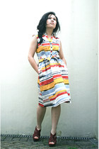 bold stripes South dress - rouge Newlook wedges