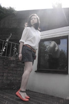 vintage blouse - pink warehouse purse - grey shorts jack wills shorts
