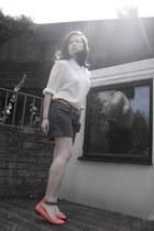 vintage blouse - pink warehouse purse - grey shorts jack wills shorts