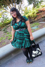 Green-annabelle-dress-black-gama-go-bag-black-xhilaration-belt