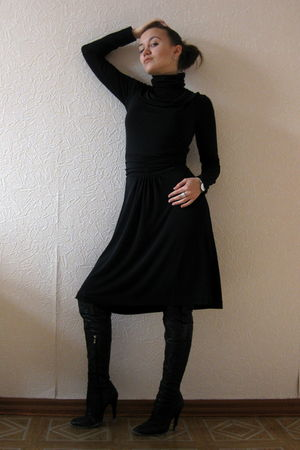 black Sinequanone dress - black Mango top - black boots - silver Swatch Watch ac
