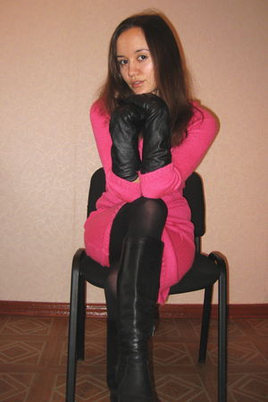 pink Only dress - black Zara gloves - black boots - black tights