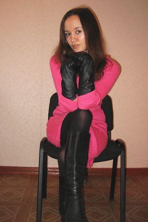 pink Only dress - black Zara gloves - black boots - black tights