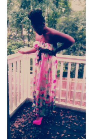 light pink pink and green Forever 21 dress