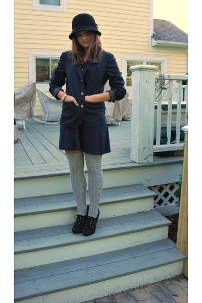 GoJane shoes - Old Navy skirt - blazer - f21 hat - Target socks