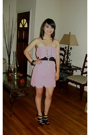 pink self-made dress - black Aldo shoes - silver downtown shop necklace - silver