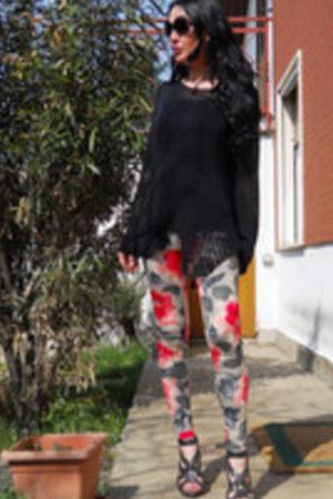 asos leggings - asos sandals - random jumper