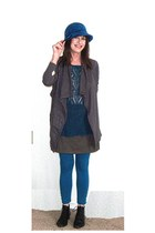 teal wool cloche Halogen hat - gray knit Olive & Oak jacket
