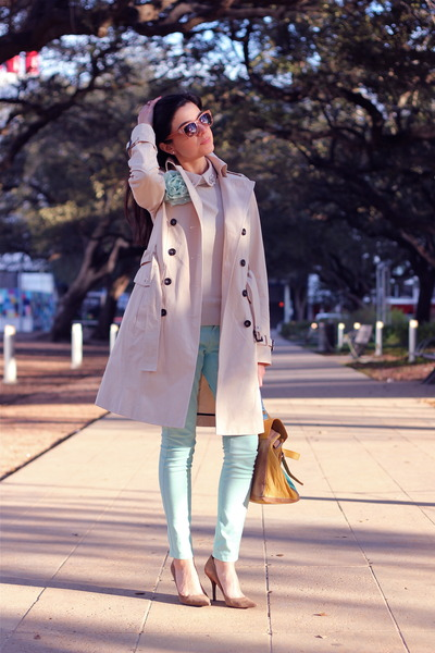 eggshell trenchcoat Zara coat - aquamarine Topshop jeans