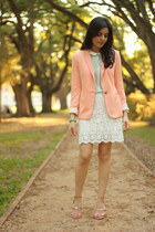 nude Zara blazer - light blue Zara shirt - off white Zara skirt
