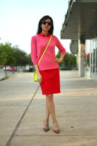 yellow asos bag - hot pink pink sweater JCrew sweater