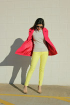 light yellow Jcrew jeans - red red peacoat Jcrew coat