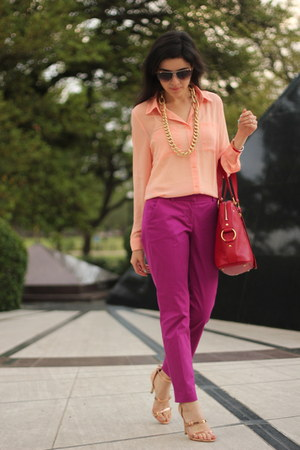 magenta cropped pants JCrew pants - red muse bag YSL bag
