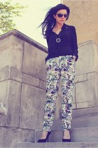 aquamarine floral trousers Zara pants - black Zara blouse
