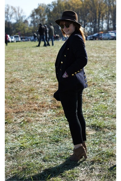 vintage blazer - JCrew boots - Gap sweater - JCrew pants