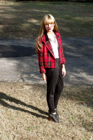 red vintage jacket - black Urban Outfitters pants - black Dolce Vita shoes - whi