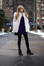 Blue-vogue-dress-black-vintage-shoes-white-vintage-jacket