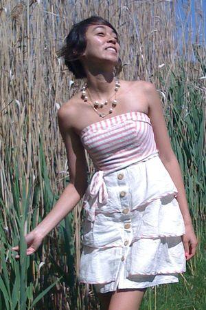 beige Anthropologie dress - gold JCrew necklace - red Nine West shoes - black Ra