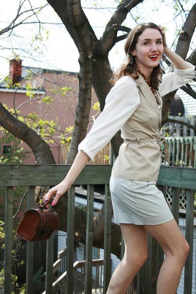 white H&M shirt - beige Vero Moda vest - gray Club Monaco skirt - black Spring s