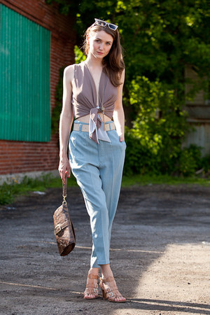 sky blue vintage pants - brown lustre top