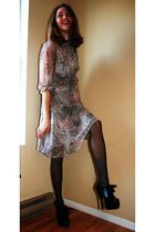 gray vintage dress - black Bordello shoes