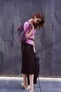 Beige-bcbg-shoes-black-vintage-skirt-pink-pink-tartan-sweater