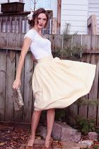 brown Michael Kors shoes - gold vintage skirt - white Baia Blue Label shirt