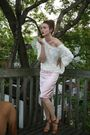 White-american-apparel-shirt-pink-vintage-skirt-brown-narcisco-rodriguez-sho