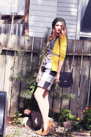beige Michael Kors shoes - black Club Monaco skirt - yellow Smart Set cardigan -
