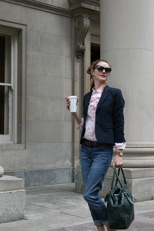 beige Zara shoes - blue pink tartan blazer - pink vintage shirt