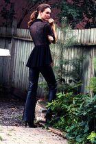black danier pants - black vintage blazer