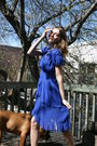 Blue-burberry-dress-gold-club-monaco-necklace-black-forever-21-shoes
