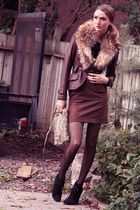 black Zara shoes - brown danier jacket - brown lustre skirt