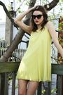 Black-aldo-boots-yellow-vintage-dress