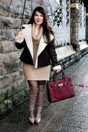 brown Marypaz boots - burnt orange Promod jacket - ruby red Parfois bag
