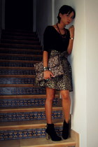 black Zara boots - light brown asos bag - dark brown brocade bow Zara skirt