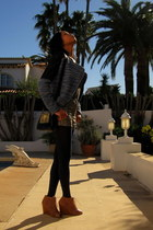 navy Zara jacket - navy Lefties tights - black Nasty Gal bag