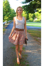 floral print H & M skirt - striped Target top - nude Nine West wedges